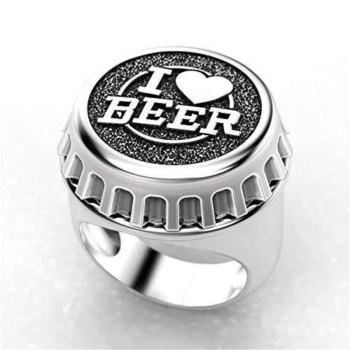 QAZXCV Mode Creative Design Ich Liebe Bier Ring Zweifarbige Bier Cover Punk Herren Hip Hop Stil Vatertag Freund Jubiläumsgeschenk,A,9