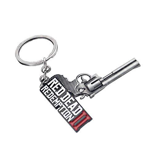 Shape Porte-clés de Voiture Gun Metal Porte Porte-clés Porte Porte-clés Red Dead Redemption 2 Keychain Mode Alliage Porte-clés pour Hommes et Femmes 1 pcs