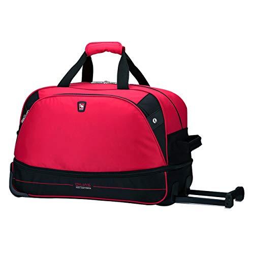 OIWAS kleine Reisetasche Damen mit Rollen 45L Plus 10L Trolleyfunktion Tasche erweiterbares Business Trolley Handgepäck Rot