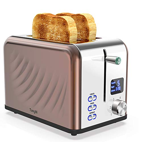 Toaster 2 Slice Best Rated Prime Two Slice Toasters Stainless Steel Toaster - 6 Bread Shade Settings with Big Timer/Bagel/Defrost/Cancel Function