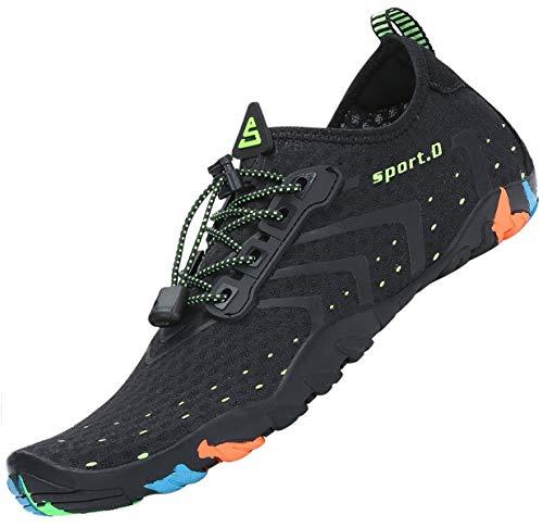 Tmaza Escarpines Agua Hombre Escarpines Snorkel Antideslizante Secado Rápido Zapatos para Deportes Acuaticos Negro 45 EU