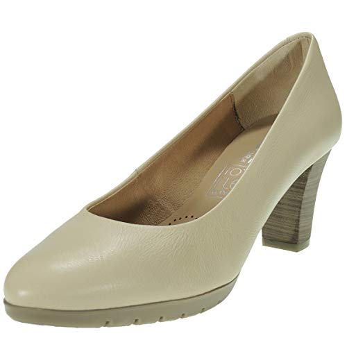 Desiree 2220V Zapato Salón Piel Flexible Piso Goma Antideslizante Planta Total Flex Tacón 6,5Cm Mujer BEIG Talla 41