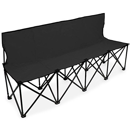 Crown Sporting Goods 6-Foot Portable Folding 4 Seat Bench with Seat Backs & Carry Bag – Great Team Bench for Soccer & Football Sidelines, Tailgating, Camping & Events, Black