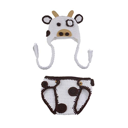 luosh Milk Cow Baby Accesorios de fotografa Trajes de Punto para bebs Disfraz de Animal recin Nacido