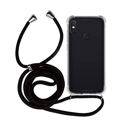 MyGadget Funda Transparente con Cordón para Redmi Note 5 - Carcasa Cuerda y Esquinas Reforzadas en Silicona TPU - Case y Correa - Negro