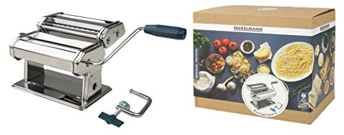 FACKELMANN Nudelmaschine #easyprepare, hochwertige Pastamaschine aus Edelstahl, manuelle Nudelmaschine mit 3 verschiedenen Nudelwalzen, Pastamaker für Spaghetti, Bandnudeln, Lasagne (Farbe: Silber)