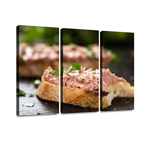 YKing1 Bitten liverwurst Sandwich with Chopped Parsley on a Dark Slate Wall Art Painting Pictures Print On Canvas Stretched & Framed Artworks Modern Hanging Posters Home Decor 3PANEL