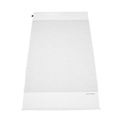 Schiesser Hamamtuch/Strandtuch/Badetuch Rom mit Fransen 100 x 180 cm, 100% Baumwolle, Farbe:weiß, Größe:100 cm x 180 cm