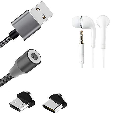 K-S-Trade Hochwertiges Magnet-Lade-Kabel Sync-Kabel Daten-Kabel + Kopfhörer Kompatibel Mit Doogee S88 Pro Mit USB-Typ-C-Anschluss Und Micro-USB-Anschluss 2A Bis Zu 480mbps