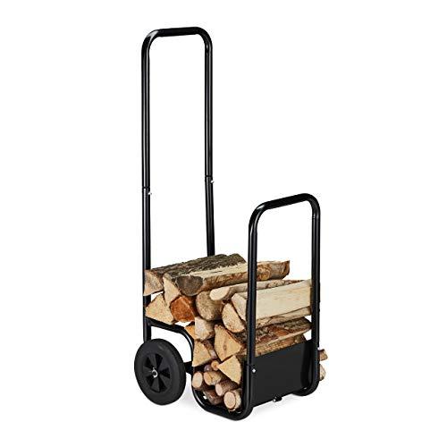 Relaxdays Carro para leña de acero, con 2 ruedas, para transporte y almacenamiento de leña, hasta 40 kg, color negro