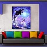 AQgyuh Puzzle 1000 Piezas Arte con Delfines en Juguetes y Juegos Gran Ocio vacacional, Juegos interactivos familiares50x75cm(20x30inch)