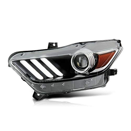 VIPMOTOZ Driver Side Black Housing Left LED Neon Tube Xenon HID Projector Headlight Headlamp Assembly Replacement For 2015-2017 Ford Mustang S550