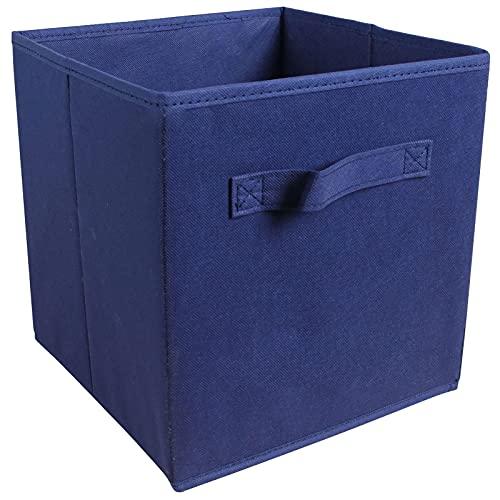 Bolsa de Almacenamiento portátil, Caja de Almacenamiento de Fieltro Plegable Baske Oficinas Libros Plegables Cesta de Almacenamiento (Color : Dark Blue)
