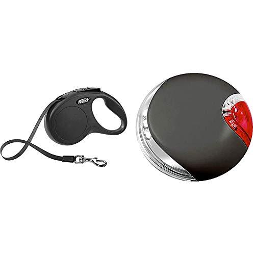 FLEXI New Classic S Gurt 5 m schwarz für Hunde bis 15 kg & LED Lighting System schwarz