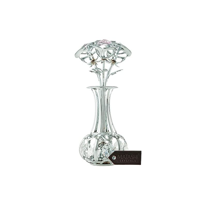 silk flower arrangements matashi chrome plated silver rose flowers decor with pink & clear crystals, with gift box and storage bag, romantic gifts for birthday, anniversary, valentines day, metal artificial floral arrangement