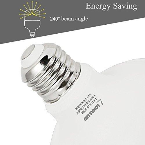 LOHAS 250W-300W Equivalent LED Bulb, Daylight Bulb 5000K 30Watt Commercial Retrofit LED, Super Bright 3500Lumen Garage Light, E26 Base(Include E39 Adapter) Light Bulb for Warehouse, Home Light, 2Pack