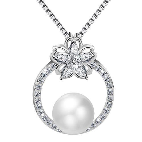 Amilril Perla Collar Colgante Mujer, Plata de Ley 925 Moda Joyería, Regalo para Madre Originales