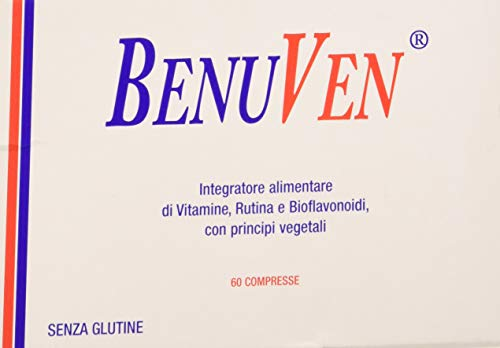 BENUVEN -60 compresse- Integratore alimentare a base di Bioflavonoidi, Centella Asiatica, Ippocastano, Meliloto, Pino, Rutina, Vitis Vinifera, Vitamina B5, Vitamina B6, Vitamina C
