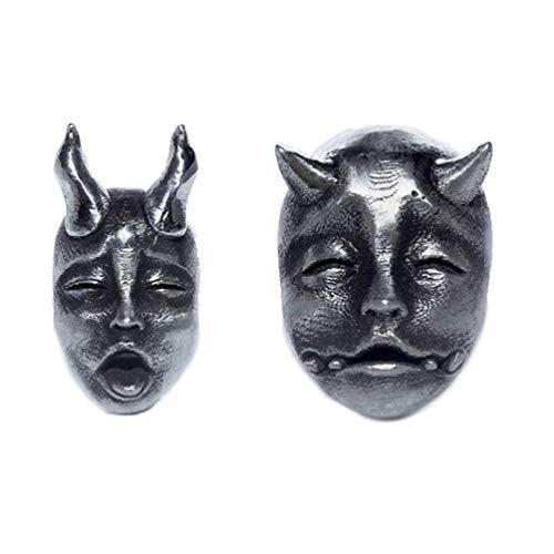 Pendientes de tuerca creativos con diseño de cuerno gótico, diseño de cara de bebé demonio, estilo retro de diablo Prajna cráneo, unisex, para fiestas, para mujer