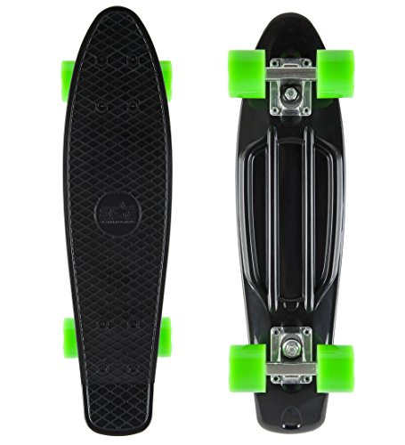 Star-Skateboards® Vintage Cruiser Board 22 Pouce Diamant Edition Couleur Noir & Vert