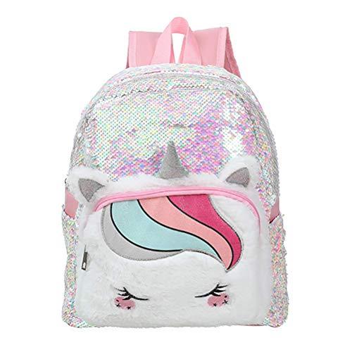 Cxjff Mochila de lentejuelas de unicornio, linda mochila para niños, mochila de dibujos animados, mochila de felpa para niños y adolescentes, rosa (color: blanco)