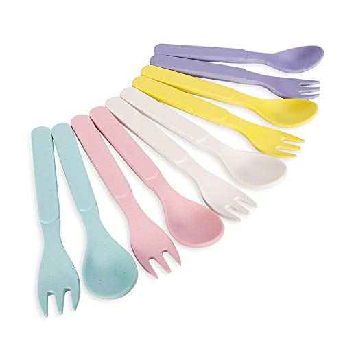 Xinzistar Pack of 10 Baby Kids Spoons Forks Set Natural Bamboo BPA Free Safe Dinnerware Utensils for Weaning Self Feeding Training Toddler Children