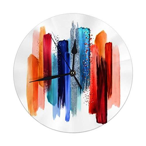 Mesllings Reloj de pared sin tictac, 24,8 cm, diseño abstracto, acuarela, pinceles, manchas de pintura, rojo y azul, paleta Swatche, reloj de pared vintage
