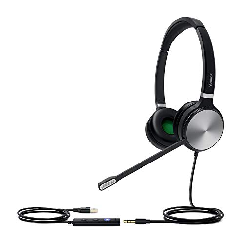 Yealink Teams Certified Telephone Headset Microphone USB Wired UH36 UH34 Noise Cancelling with Mic for Computer PC Laptop Stereo for Calls and Music 3.5mm Jack (UC Optimized, UH36-DUAL)
