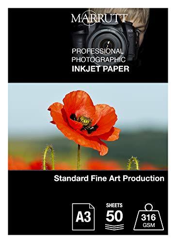 Marrutt - Papel fotográfico de inyección de tinta (316 g/m², tamaño A3, 50 hojas)