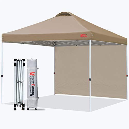 MasterCanopy Pop Up Gazebo Tent Instant Shelter Beach Canopy with 1 Sidewall(3X3M,Khaki)