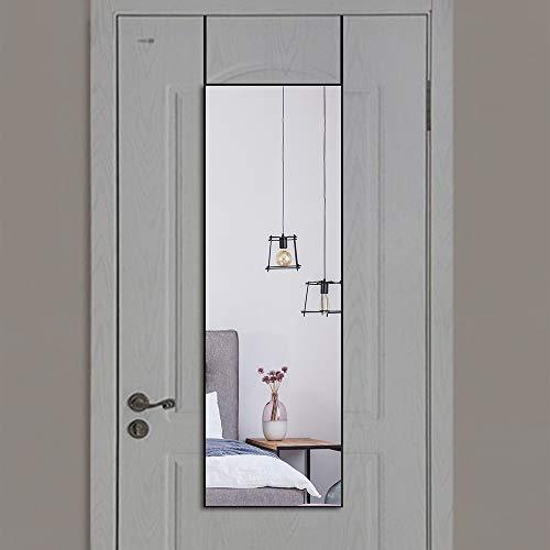WONSTART Espejo de Puerta Moderno de Aluminio Espejo de Cuerpo Entero Cuadrado Espejo de Piso de Dormitorio (106cm*35cm, Negro)