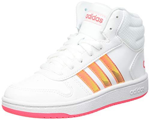 adidas Unisex-Kinder HOOPS MID 2.0 K Sneaker, Ftwbla/Ftwbla/Rossen, 37 1/3 EU