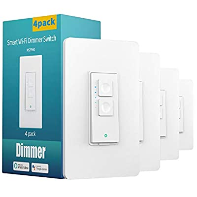Smart Dimmer Switch Single Pole - meross Smart WiFi Light Switch for Dimmable LED, Compatible with Alexa Google Assistant, Neutral Wire Required, Remote Control Schedule, No Hub Needed, 4 Pack