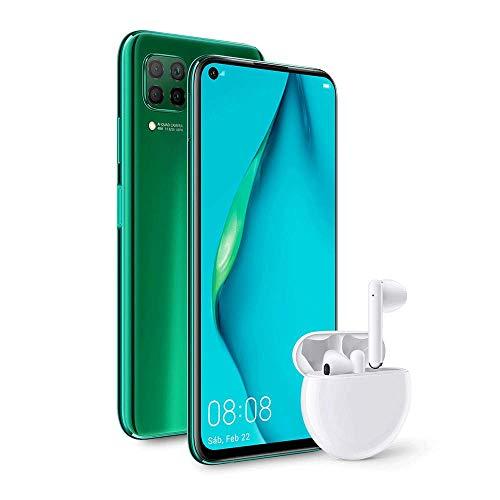 """HUAWEI P40 lite - Smartphone con pantalla de 6.4"""" FullView (Kirin 810, 6GB de RAM, 128GB de ROM, Cuádruple cámara de 48MP,8MP,2MP,2MP), carga rápida de 40W, Batería de 4200 mAh, Auriculares Freebuds 4"""