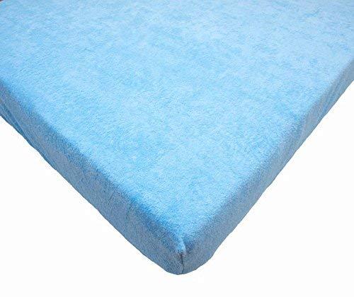 Drap-Housse en Tissu Eponge pour Lit Bébé 120x60cm (Bleu)