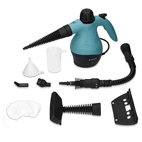 Navaris Mehrzweck Dampfreiniger elektrisch 360ml - mehrere Aufsätze und Zubehör - Dampf Reiniger für Teppich Boden Fliesen Bad Autositze Polster