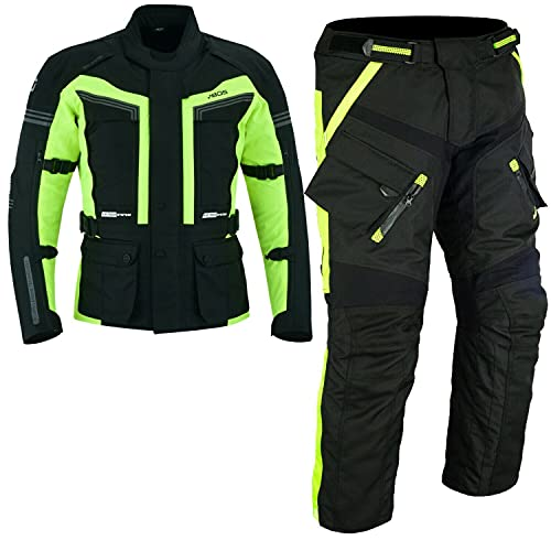 BOSmoto 2-teiler Motorradkombi Cordura Textilien Motorradjacke + Motorradhose Neon (S)