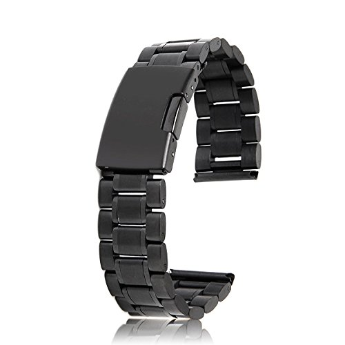 Winomo Uhrenarmband, 18 mm, aus solidem Stahl, mit 2 Sicherheitsnadeln (schwarz)