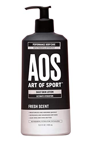 Art of Sport Daily Skin Lotion, Body Lotion for Dry Skin, Daily Moisturizer Repairs with Shea Butter, Aloe Vera, Vitamin B and E, Non-Greasy Feel, Fresh Scent, Dermatologist Tested, 13.5 oz
