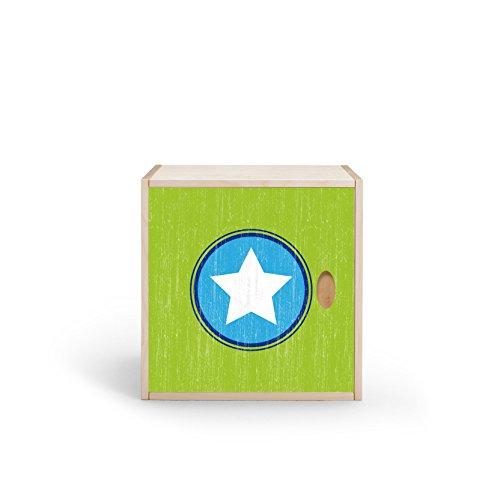 Estantería en forma de cubo con puerta, abedul multiplex con chapa de madera auténtica, para habitación infantil, oficina, armario, etc. (estrella grande verde)