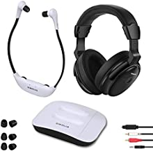 SIMOLIO Digital 2.4GHz Dual Wireless TV Headphones w/100ft Long-Distance, Hearing Protection Wireless Headphone for TV Watching, TV Listening Device for Seniors and Hard of Hearing SM-8245