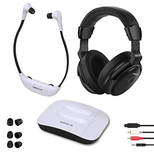 SIMOLIO Digital 2.4GHz Dual Wireless TV Headphones w/100ft Long-Distance, Hearing Protection Wireless Headphone for TV Watching, TV Hearing Assistance Device for Seniors and Hard of Hearing SM-8245