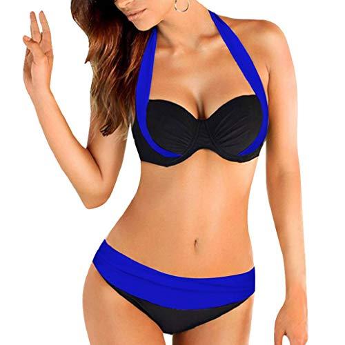Heekpek Damen-Bikini-Set, Neckholder, Push-Up-Badeanzug, gepolsterter BH, rückenfreier Badeanzug Gr. 52, blau