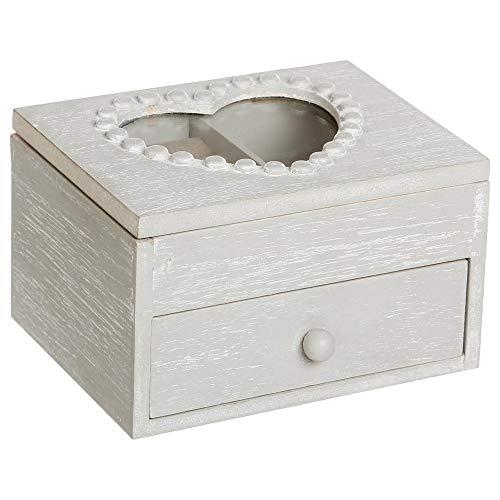 Atmosphera Boîte à Bijoux Cœur - 1 tiroir - Gris