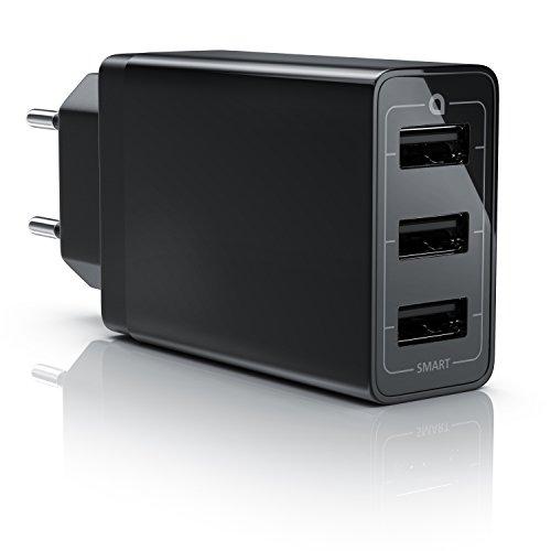CSL - 30W USB 3 Port Ladegerät Netzteil mit Smart Charge Solid Charge - 6000mA - kompatibel mit Apple iPhone iPad Samsung Galaxy Note Nexus HTC LG und viele mehr - schwarz