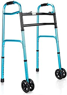 OasisSpace Heavy Duty Folding Walker, Bariatric Walker with 5 Inches Wheels for Seniors Wide Walker Supports up to 500 lbs...