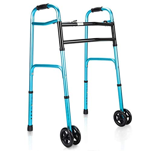OasisSpace Heavy Duty Folding Walker, Bariatric Walker with 5 Inches Wheels for Seniors Wide Walker Supports up to 500 lbs [Walker Accessories Included]? (Heavy Duty Size)