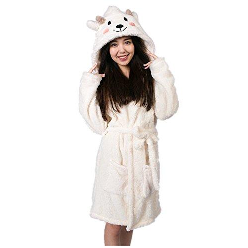 JYSPORT Damen Bademäntel Morgenmantel Saunamantel Frottee Handtuch Mantel Leichtgewicht Dressing Kleid Tier Cosplay Nachtwäsche Kostüm (Sheep, M)