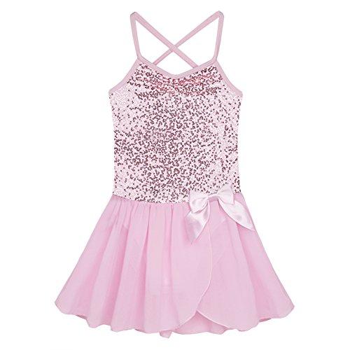 inlzdz Camisola de ballet tutú para niñas con lentejuelas vestido de gimnasia, baile de baile, falda de fantasía de hadas, princesa, disfraz de baile rosa de 2 a 3 años