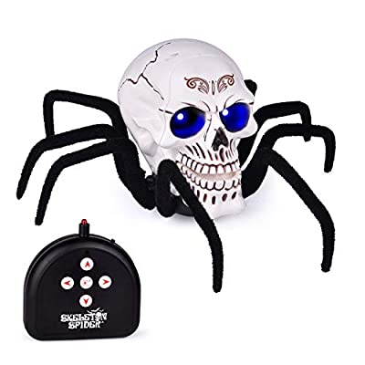 FUN LITTLE TOYS Remote Control Spider Toy, 11.8 Inches Skull Spider with Light and Sound, RC Spider Toy for Party Decorations, Party Favors, Party Supplies from FUN LITTLE TOYS